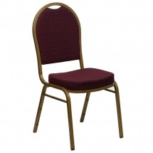 Flash Furniture FD-C03-ALLGOLD-EFE1679-GG HERCULES Series Dome Back Burgundy Patterned Stacking Banquet Chair - Gold Frame
