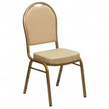 Flash Furniture FD-C03-ALLGOLD-H20124E-GG HERCULES Series Dome Back Beige Patterned Stacking Banquet Chair - Gold Frame