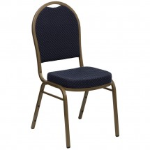 Flash Furniture FD-C03-ALLGOLD-H203774-GG HERCULES Series Dome Back Stacking Navy Patterned Banquet Chair - Gold Frame