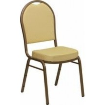 Flash Furniture FD-C03-ALLGOLD-H20377A-GG HERCULES Series Dome Back Beige Patterned Stacking Banquet Chair - Gold Frame