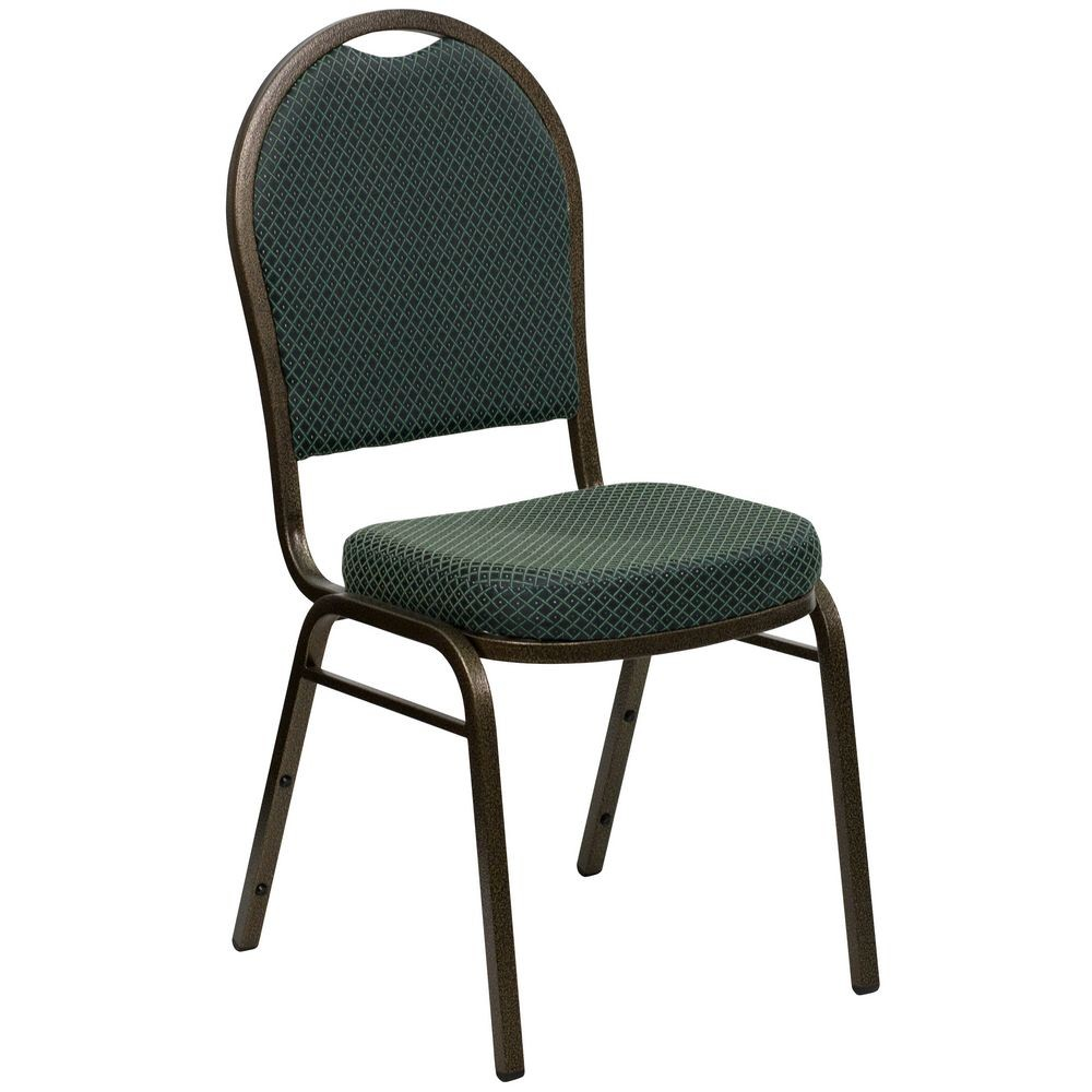 Flash Furniture FD-C03-GOLDVEIN-4003-GG HERCULES Series Dome Back Green Patterned Stacking Banquet Chair - Gold Vein Frame