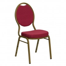 Flash Furniture FD-C04-ALLGOLD-2804-GG HERCULES Series Teardrop Back Stacking Burgundy Patterned Banquet Chair - Gold Frame