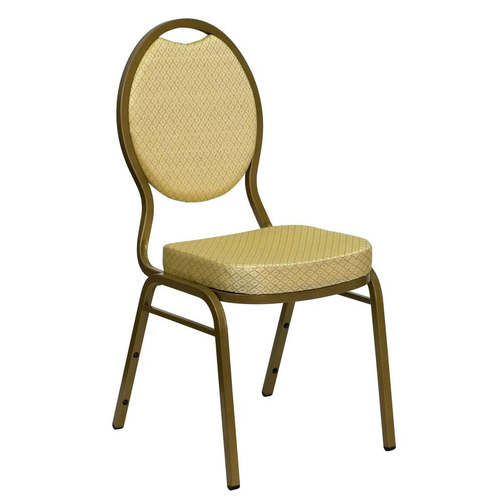 Flash Furniture FD-C04-ALLGOLD-2811-GG HERCULES Series Teardrop Back Beige Patterned Stacking Banquet Chair - Gold Frame