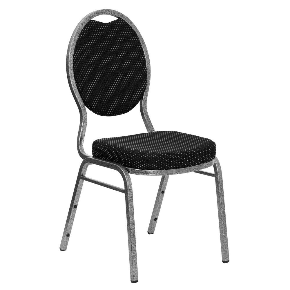 Flash Furniture FD-C04-SILVERVEIN-S076-GG HERCULES Series Teardrop Back Black Patterned Stacking Banquet Chair - Silver Vein Frame