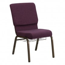 "Flash Furniture FD-CH02185-GV-005-BAS-GG HERCULES Series 18.5"" Plum Church Chair, Communion Cup Book Rack - Gold Vein Frame"