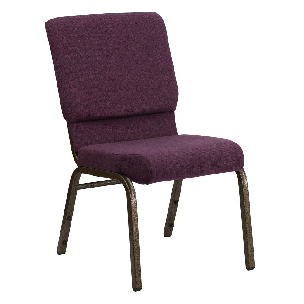 "Flash Furniture FD-CH02185-GV-005-GG HERCULES Series 18.5"" Wide Plum Stacking Church Chair - Gold Vein Frame"