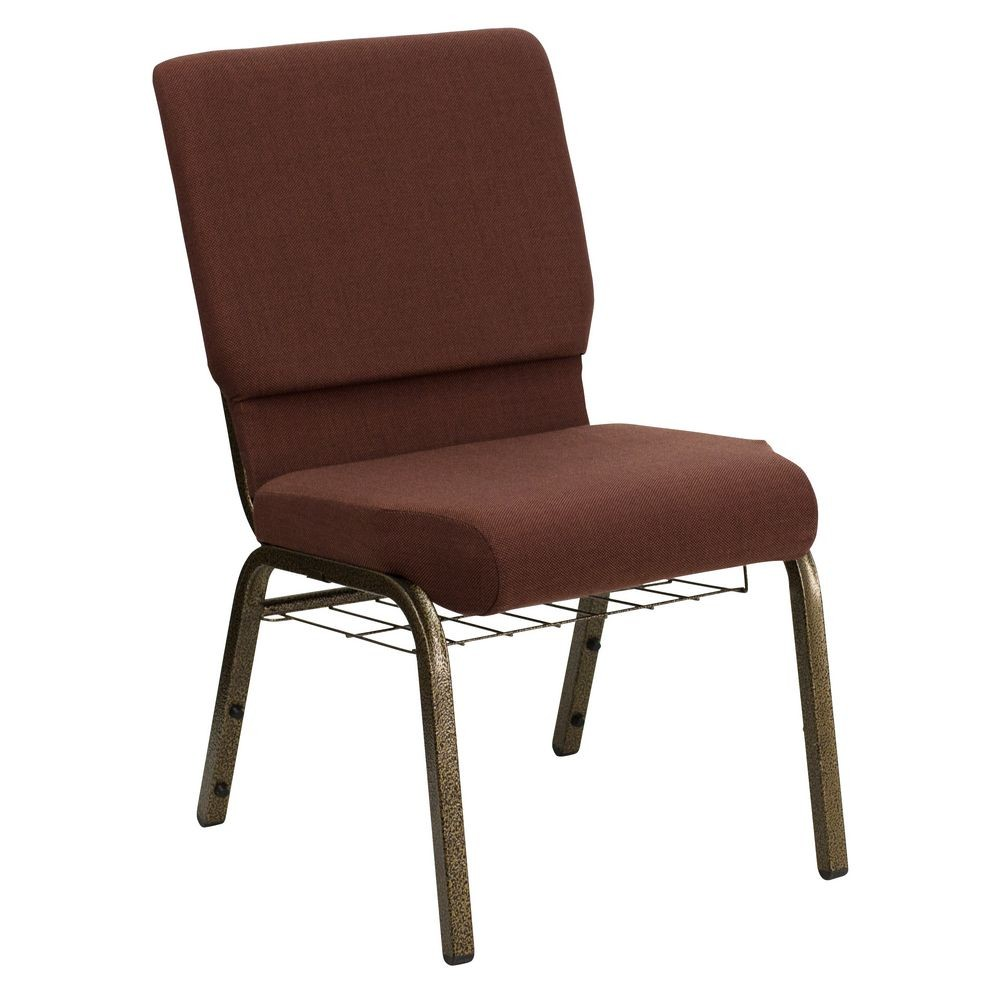 Flash Furniture FD-CH02185-GV-10355-BAS-GG HERCULES Series 18.5'' Wide Brown Church Chair, Communion Cup Book Rack - Gold Vein Frame