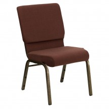 "Flash Furniture FD-CH02185-GV-10355-GG HERCULES Series 18.5"" Wide Brown Stacking Church Chair - Gold Vein Frame"
