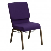 Flash Furniture FD-CH02185-GV-ROY-BAS-GG HERCULES Series 18.5'' Wide Royal Purple Church Chair, Communion Cup Book Rack - Gold Vein Frame