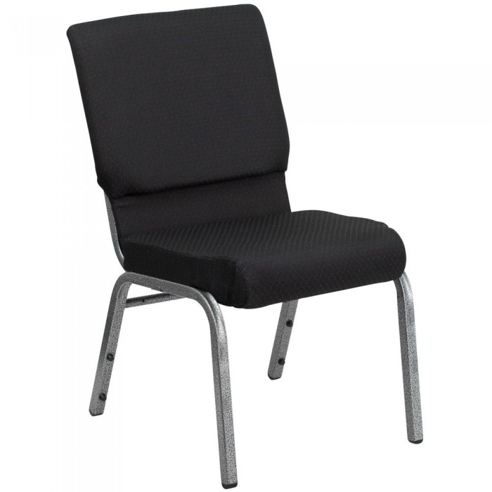 "Flash Furniture FD-CH02185-SV-JP02-GG HERCULES Series 18.5"" Wide Black Patterned Stacking Church Chair - Silver Vein Frame"