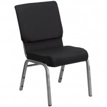 Flash Furniture FD-CH02185-SV-JP02-GG HERCULES Series 18.5'' Wide Black Patterned Stacking Church Chair - Silver Vein Frame