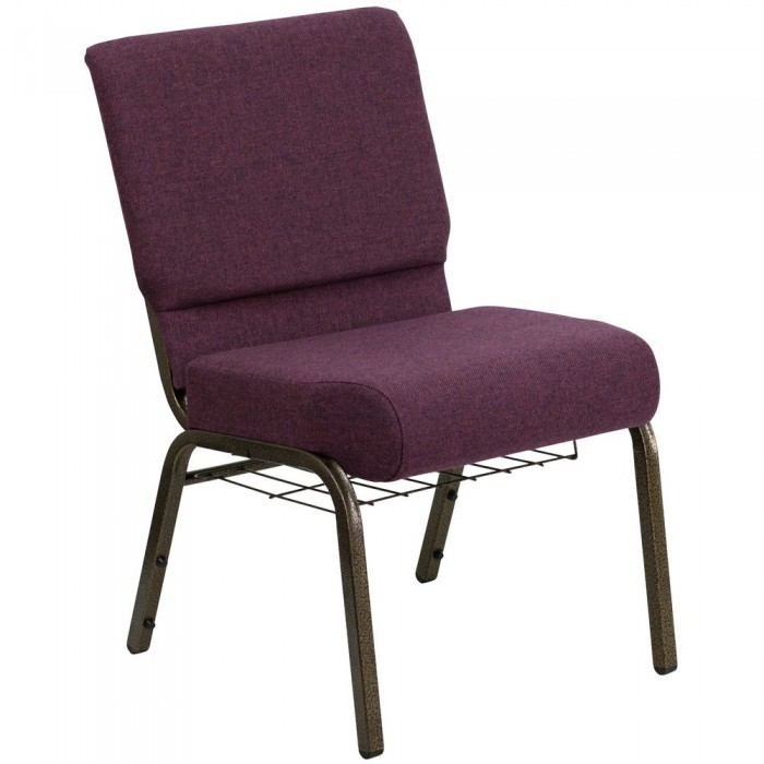 Flash Furniture FD-CH0221-4-GV-005-BAS-GG HERCULES Series 21'' Extra Wide Plum Church Chair, Communion Cup Book Rack - Gold Vein Frame