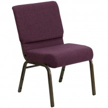 "Flash Furniture FD-CH0221-4-GV-005-GG HERCULES Series 21"" Extra Wide Plum Stacking Church Chair - Gold Vein Frame"