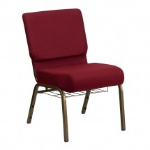 "Flash Furniture FD-CH0221-4-GV-3169-BAS-GG HERCULES Series 21"" Extra Wide Burgundy Church Chair, Communion Cup Book Rack - Gold Vein Frame"