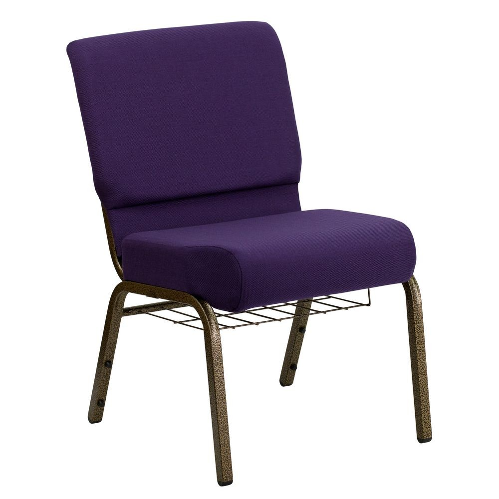 Flash Furniture FD-CH0221-4-GV-ROY-BAS-GG HERCULES Series 21'' Extra Wide Royal Purple Church Chair, Communion Cup Book Rack - Gold Vein Frame