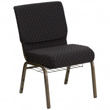 Flash Furniture FD-CH0221-4-GV-S0806-BAS-GG HERCULES 21'' Extra Wide Black Dot Patterned Church Chair, Communion Cup Book Rack, Gold Vein Frame