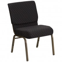 "Flash Furniture FD-CH0221-4-GV-S0806-GG HERCULES Series 21"" Extra Wide Black Dot Patterned Stacking Church Chair - Gold Vein Frame"