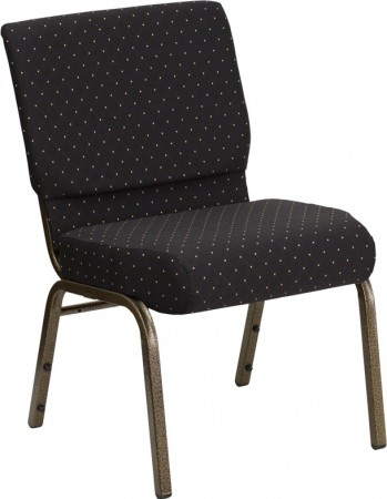 """Flash Furniture FD-CH0221-4-GV-S0806-GG HERCULES Series 21"""" Extra Wide Black Dot Patterned Stacking Church Chair - Gold Vein Frame"""