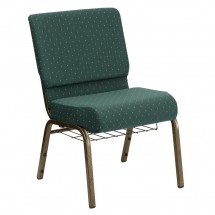 Flash Furniture FD-CH0221-4-GV-S0808-BAS-GG HERCULES 21'' Extra Wide Hunter Green Dot Patterned Church Chair, Communion Cup Book Rack, Gold Vein Frame