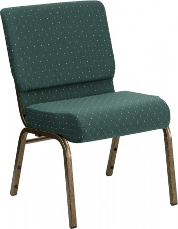 """Flash Furniture FD-CH0221-4-GV-S0808-GG HERCULES Series 21"""" Extra Wide Hunter Green Dot Patterned Stacking Church Chair - Gold Vein Frame"""