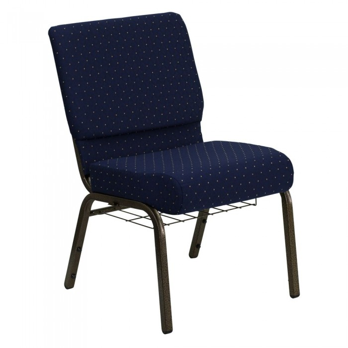 "Flash Furniture FD-CH0221-4-GV-S0810-BAS-GG HERCULES 21"" Extra Wide Navy Blue Dot Patterned Church Chair, Communion Cup Book Rack, Gold Vein Frame"