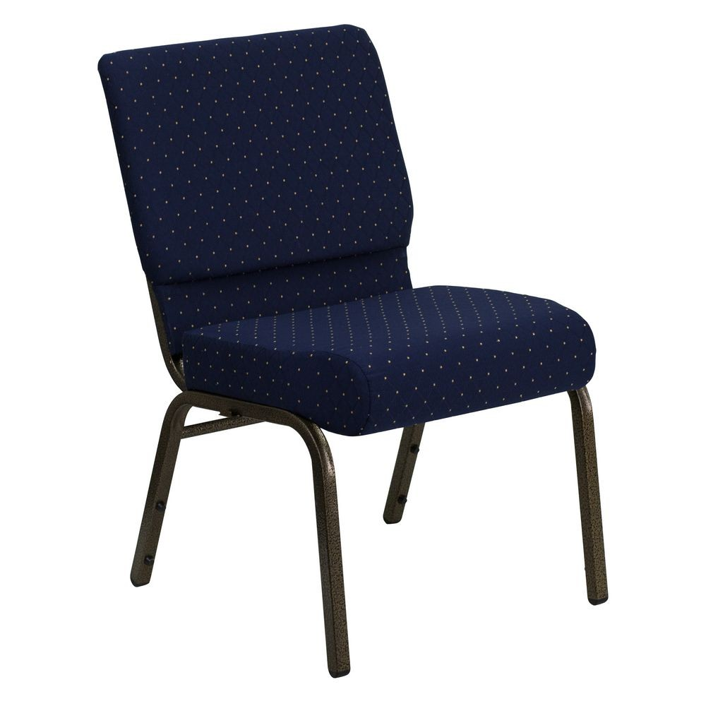 Flash Furniture FD-CH0221-4-GV-S0810-GG HERCULES Series 21'' Extra Wide Navy Blue Dot Patterned Stacking Church Chair - Gold Vein Frame