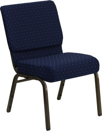 """Flash Furniture FD-CH0221-4-GV-S0810-GG HERCULES Series 21"""" Extra Wide Navy Blue Dot Patterned Stacking Church Chair - Gold Vein Frame"""