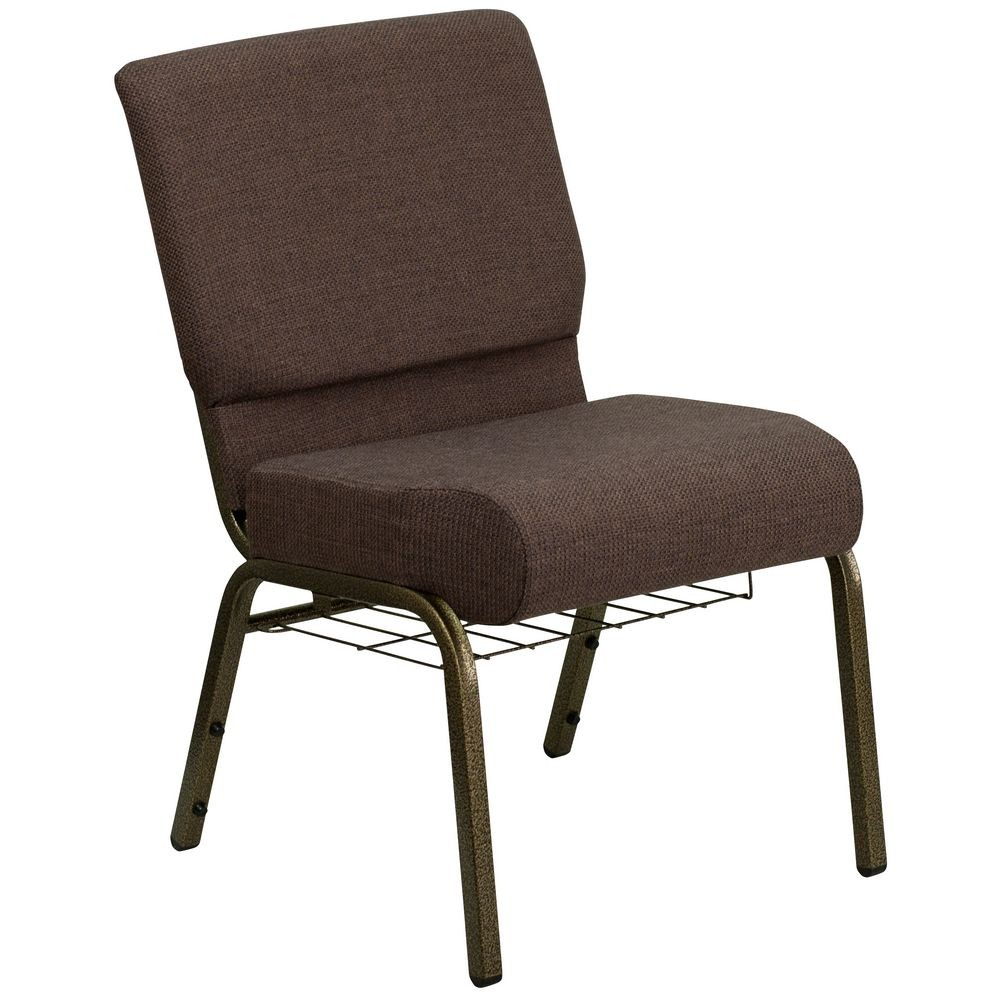 Flash Furniture FD-CH0221-4-GV-S0819-BAS-GG HERCULES Series 21'' Extra Wide Brown Church Chair, Communion Cup Book Rack - Gold Vein Frame