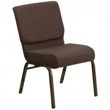 "Flash Furniture FD-CH0221-4-GV-S0819-GG HERCULES Series 21"" Extra Wide Brown Stacking Church Chair - Gold Vein Frame"