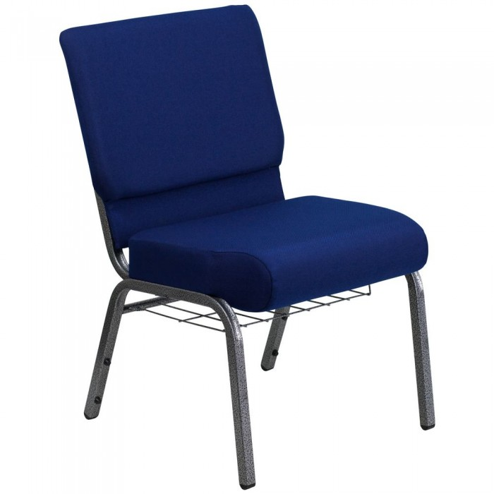 Flash Furniture FD-CH0221-4-SV-NB24-BAS-GG HERCULES Series 21'' Extra Wide Navy Blue Church Chair, Communion Cup Book Rack - Silver Vein Frame