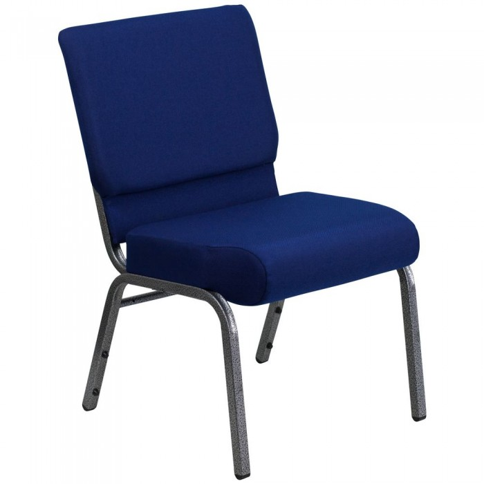 "Flash Furniture FD-CH0221-4-SV-NB24-GG HERCULES Series 21"" Extra Wide Navy Blue Stacking Church Chair - Silver Vein Frame"
