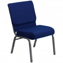 Flash Furniture FD-CH0221-4-SV-NB24-GG HERCULES Series 21'' Extra Wide Navy Blue Stacking Church Chair - Silver Vein Frame