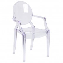 Flash Furniture FH-124-APC-CLR-GG Ghost Chair with Arms in Transparent Crystal
