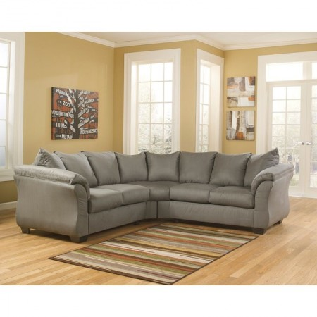 Flash Furniture FSD-1109SEC-COB-GG Signature Design by Ashley Darcy Sectional in Cobblestone Fabric