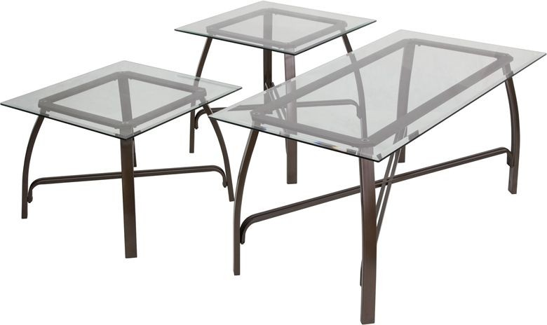 Flash Furniture FSD-TS3-39BZ-GG Signature Design by Ashley Liddy, 3 Piece Occasional Table Set