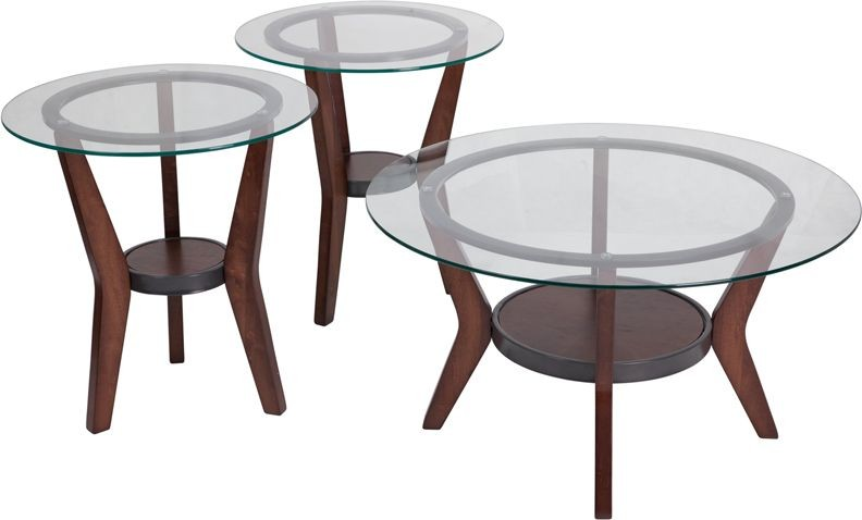 Flash Furniture FSD-TS3-61DB-GG Signature Design by Ashley Fantell, 3 Piece Occasional Table Set