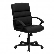 Flash Furniture GO-1004-BK-LEA-GG Mid-Back Black Leather Office Chair