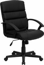Flash Furniture GO-1004-BK-LEA-GG Mid-Back Black Leather Task Chair