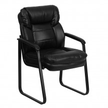 Flash Furniture GO-1156-BK-LEA-GG Black Leather Executive Side Chair with Sled Base