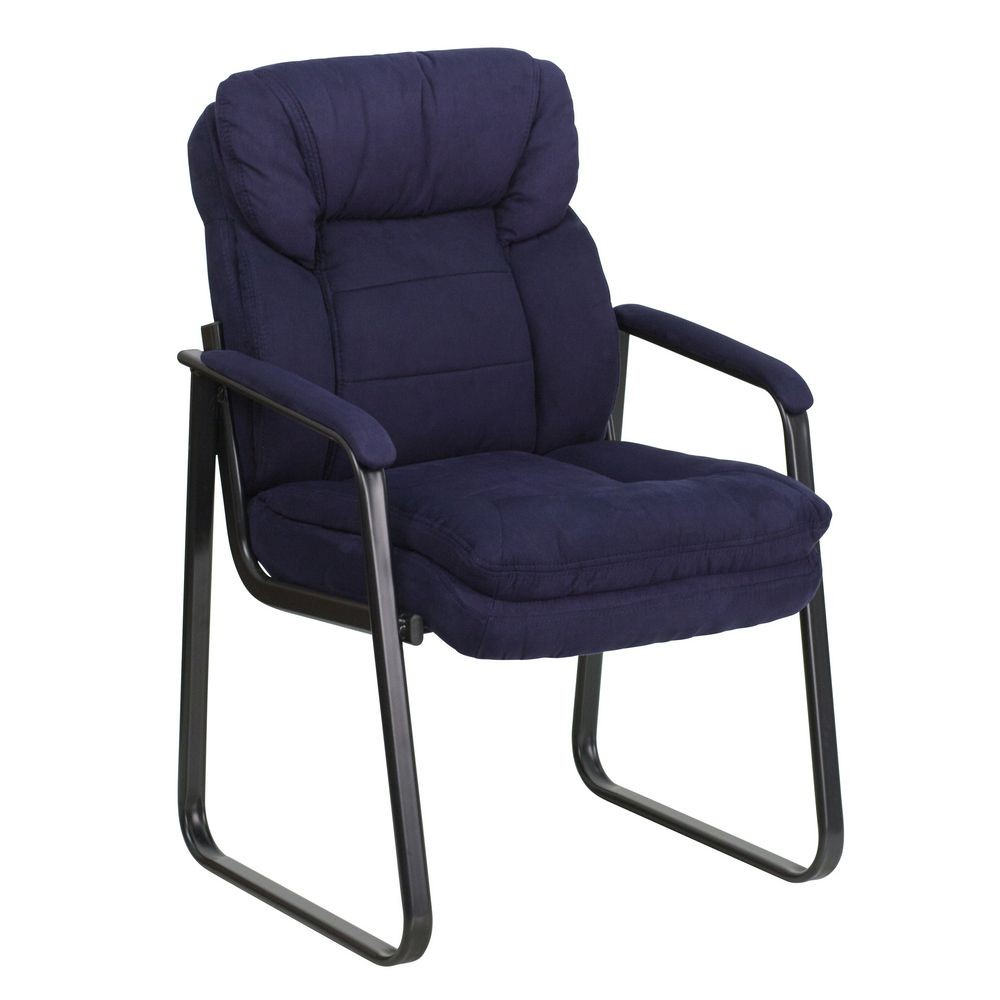 Flash Furniture GO-1156-NVY-GG Navy Microfiber Executive Side Chair with Sled Base