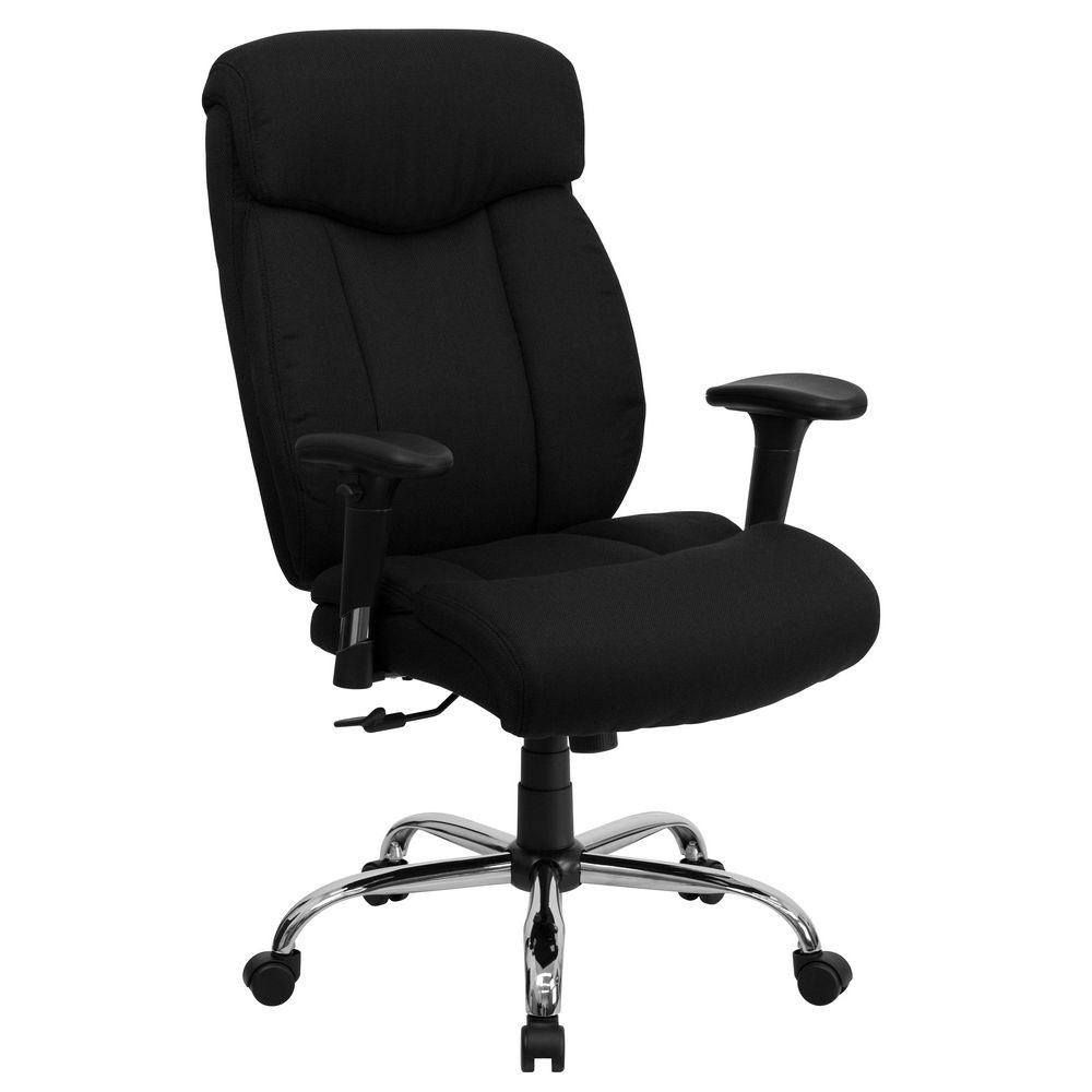 Flash Furniture GO-1235-BK-FAB-A-GG HERCULES Series 350 lb. Capacity Big and Tall Black Fabric Office Chair with Arms