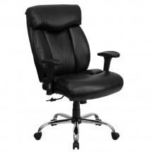 Flash Furniture GO-1235-BK-LEA-A-GG HERCULES Series 350 lb. Capacity Big and Tall Black Leather Office Chair with Arms