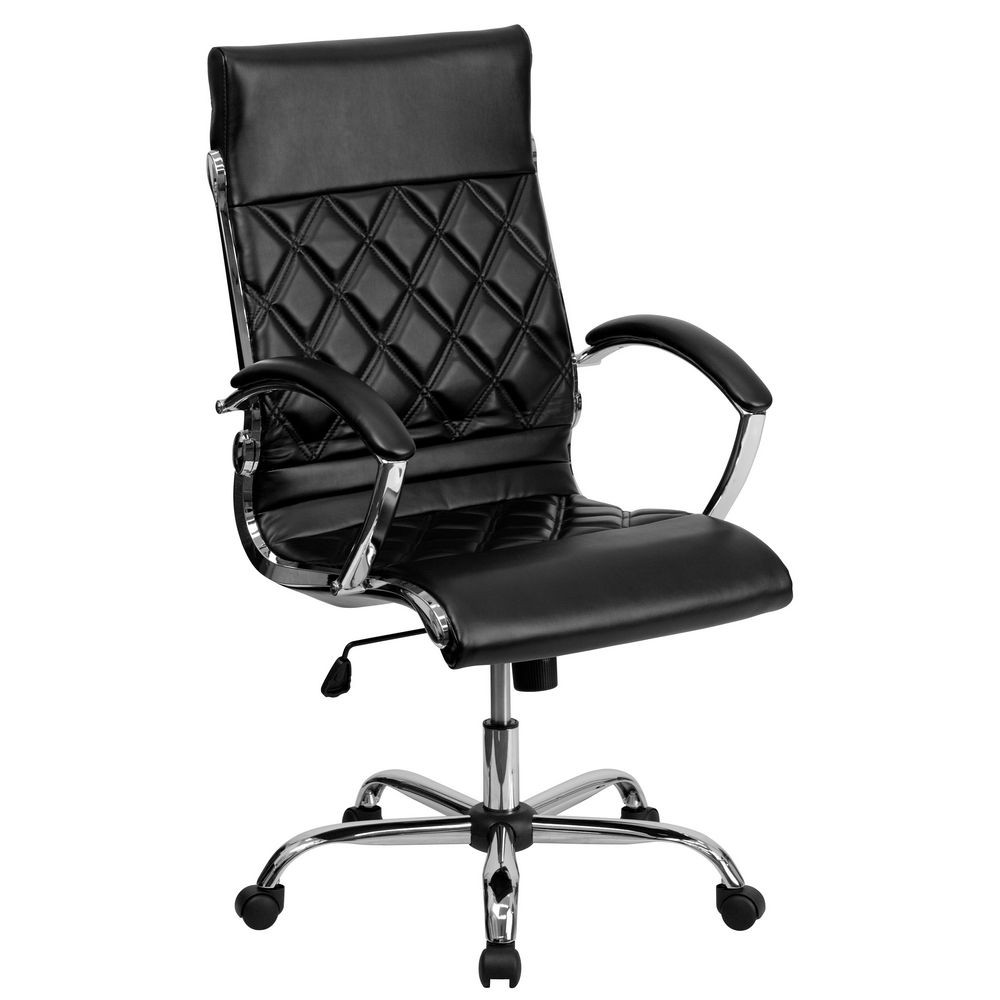 Flash Furniture GO-1297H-HIGH-BK-GG Black High Back Designer Leather Executive Office Chair with Chrome Base