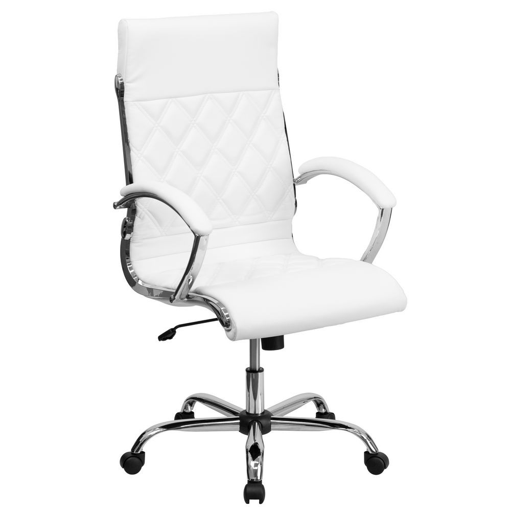Flash Furniture GO-1297H-HIGH-WHITE-GG White High Back Designer Leather Executive Office Chair with Chrome Base
