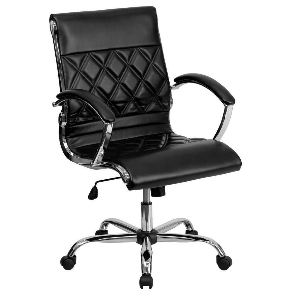 Flash Furniture GO-1297M-MID-BK-GG Black Mid-Back Designer Leather Executive Office Chair with Chrome Base