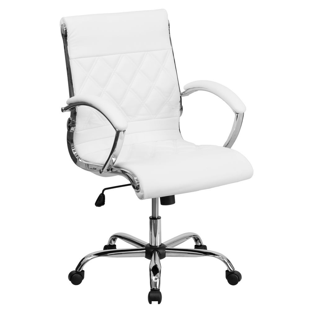 Flash Furniture GO-1297M-MID-WHITE-GG White Mid-Back Designer Leather Executive Office Chair with Chrome Base