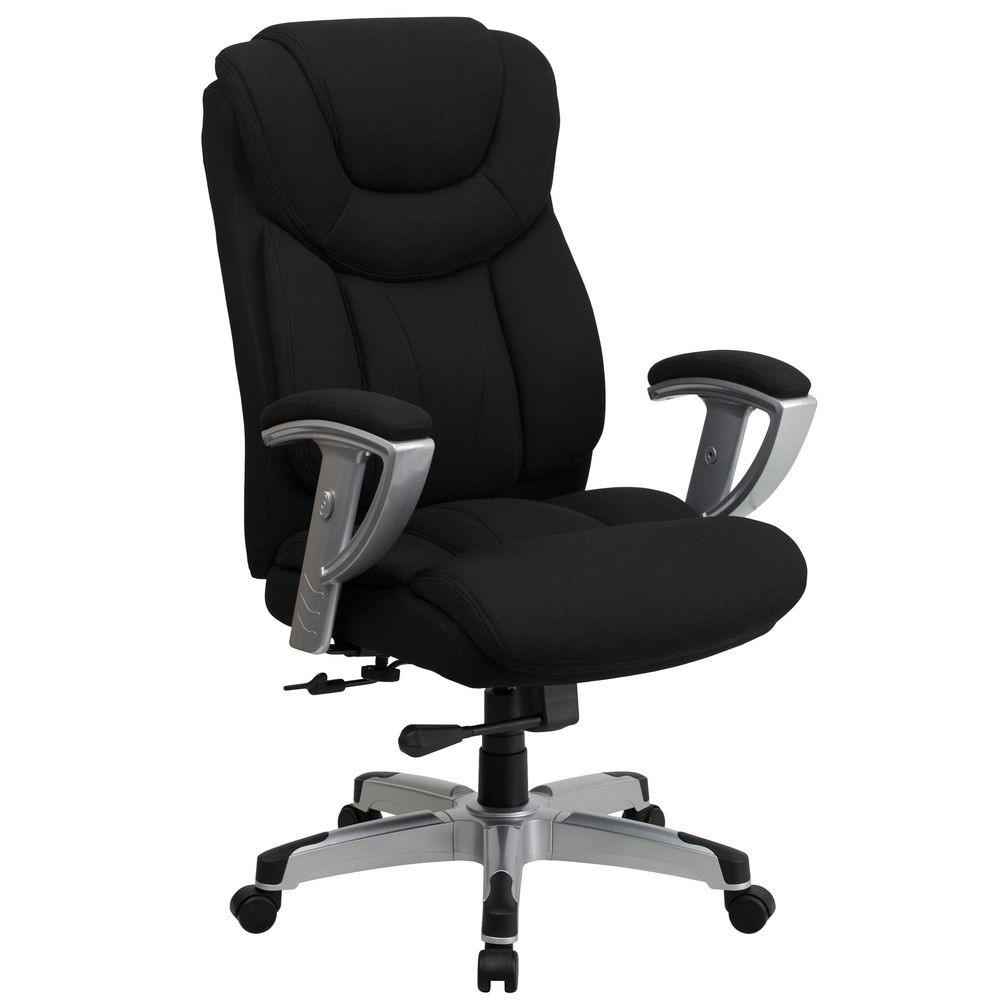 Flash Furniture GO-1534-BK-FAB-GG HERCULES Series 400 lb. Capacity Big and Tall Black Fabric Office Chair with Arms