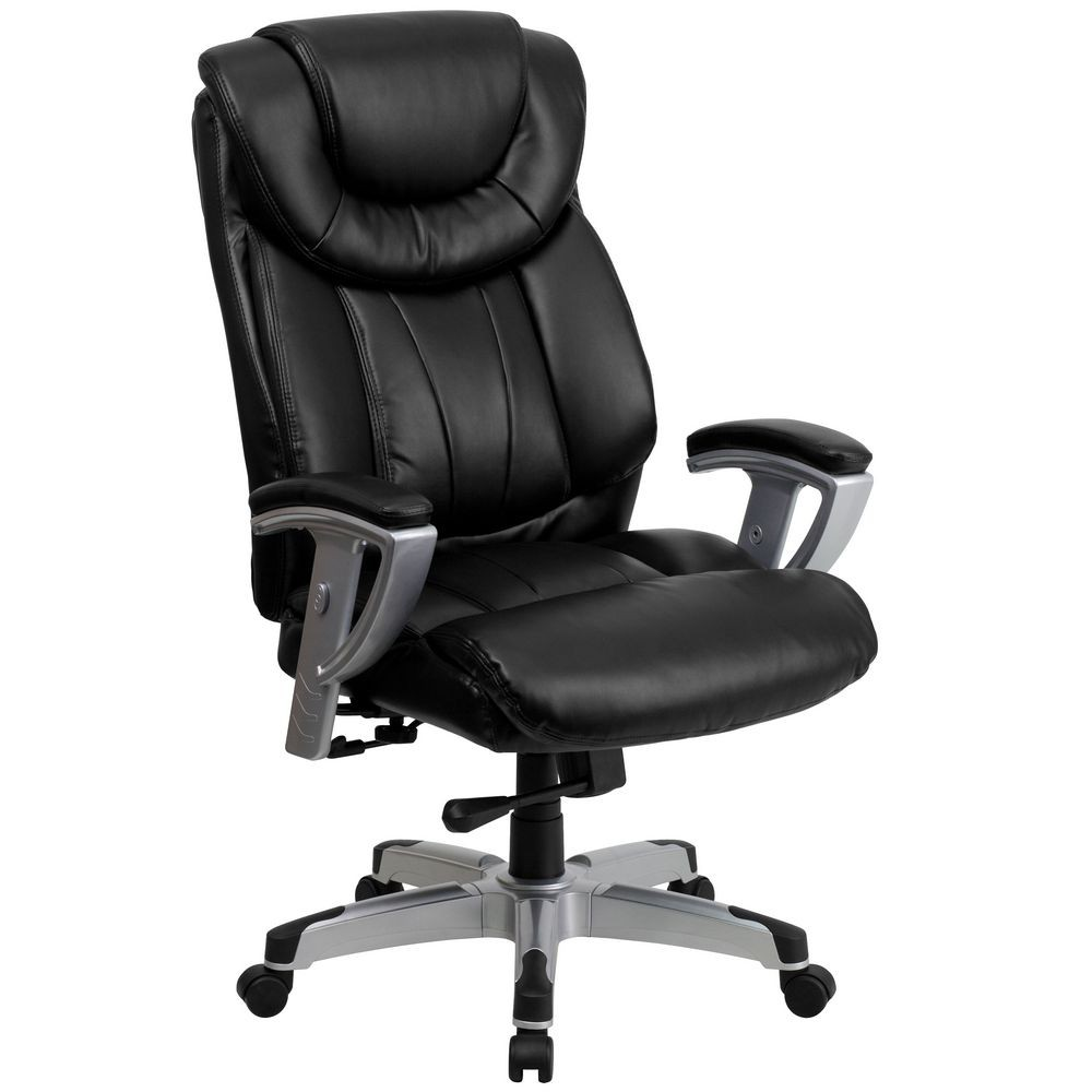 Flash Furniture GO-1534-BK-LEA-GG HERCULES Series 400 lb. Capacity Big and Tall Black Leather Office Chair with Arms