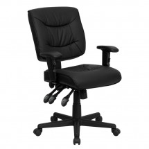 Flash Furniture GO-1574-BK-A-GG Mid-Back Black Leather Multi-Functional Task Chair with Height Adjustable Arms