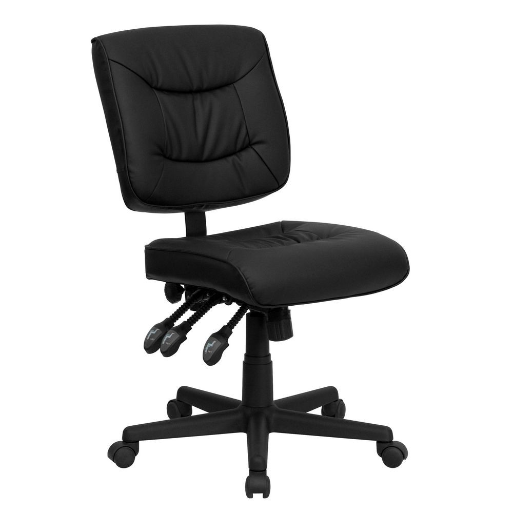 Flash Furniture GO-1574-BK-GG Mid-Back Black Leather Multi-Functional Task Chair